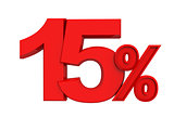 red sign 15 percent