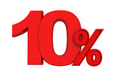 red sign 10 percent