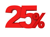 red sign 25 percent