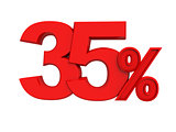 red sign 35 percent