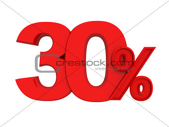 red sign 30 percent