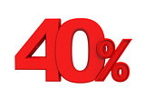 red sign 40 percent