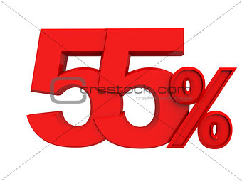 red sign 55 percent
