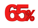 red sign 65percent