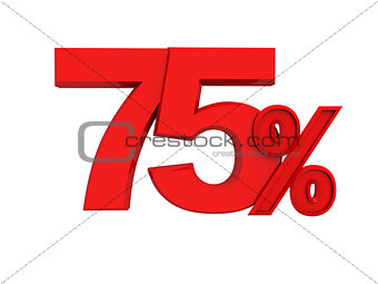 red sign 75 percent