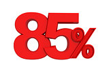 red sign 85 percent