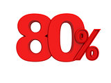 red sign 80 percent
