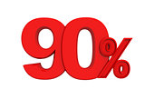 red sign 90 percent