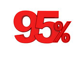 red sign 95 percent