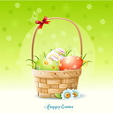 Happy Easter card and a basket with Easter eggs