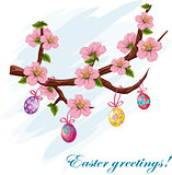 Happy Easter card with cherry blossoms and Easter eggs.