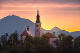 Church in Bled Lake, Slovenia at Sunrise
