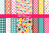 Set of colorful seamless retro vector patterns