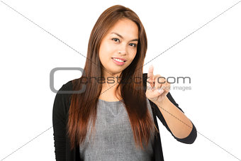 Asian Woman Index Finger Pointing At Camera