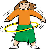 Fit Woman Using Yellow Hula Hoop