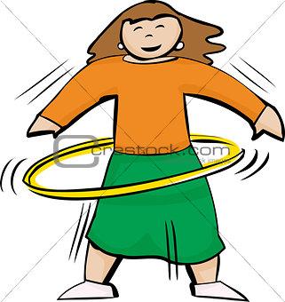 Fit Woman Using Yellow Hula Hoop