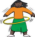 Happy Woman Using Yellow Hula Hoop