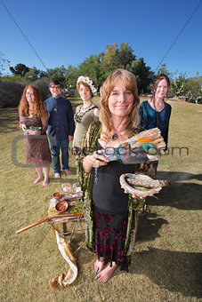 Pagan Worshippers with Sage Incense