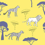 Seamless pattern with savanna animals-03