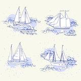 Sea travel elements set