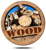Wood - Symbol with Trunks of Trees