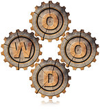 Wood Symbol with Four Wooden Gears
