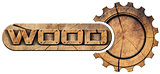 Wood Symbol with Wooden Gear