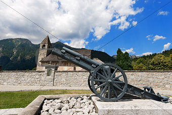 Church and the War Cannon - Pinzolo Trento Italy