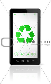 Smartphone with a recycle symbol on screen. ecological concept