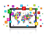World map made of icons on Tablet PC. Cloud computing concept