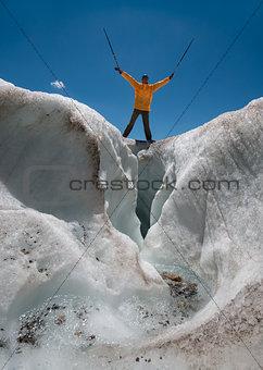 tourist on glacier