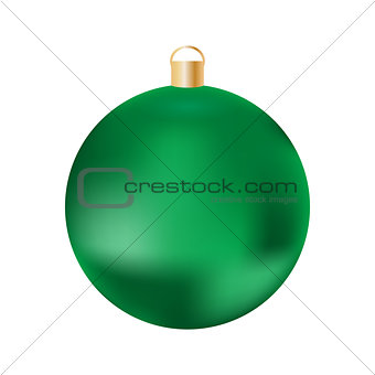 Green Christmas ball on white background