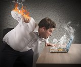 Businessman fiery rage