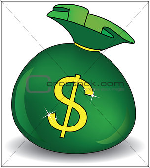 Green money bag icon with dollar sign isolated on white background. Vector illustration.