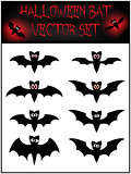 Vector set of Halloween bat silhouette. Illustration isolated on white background