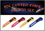 Vector illustration of realistic box cutter knife set isolated on white background