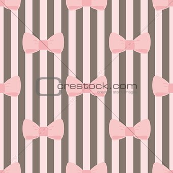 Tile vector pattern with pink bows on brown and white strips background