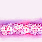 Watercolor Pink Flower Vector Borderters