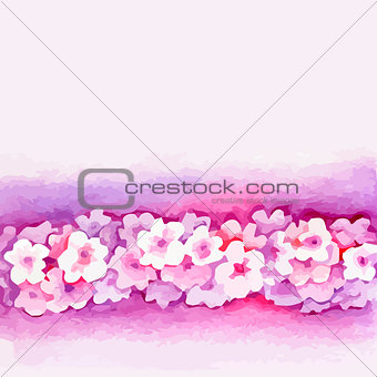 Watercolor Pink Flower Vector Borderters