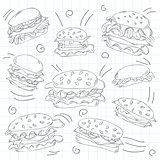 Fast food hamburger doodle set