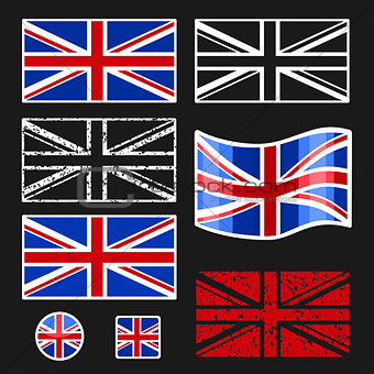 British Flag Vector Set