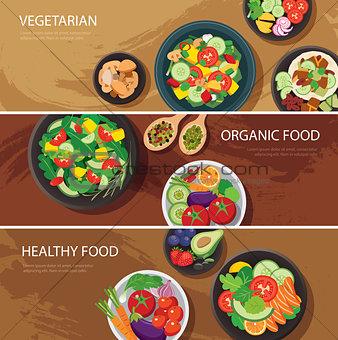 food web banner flat design. vegetarian , organic food, healthy