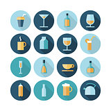 Flat design icons for drinks