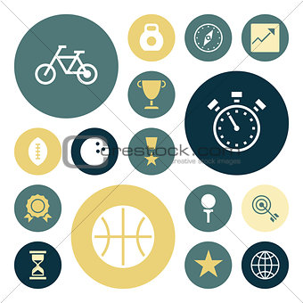 Flat design icons for sport and fitness