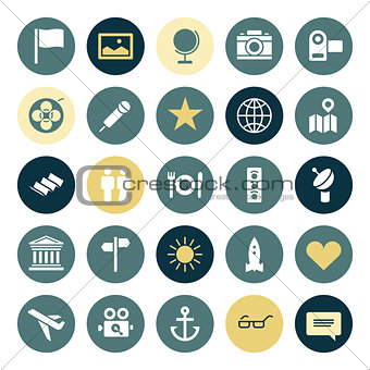 Flat design icons for travel and leisure