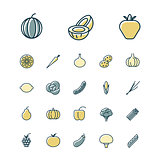 Thin line icons for fruits and vegetables