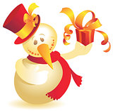 Snowman with gift gold