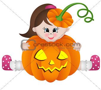 Little girl in halloween pumpkin