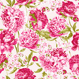 Seamless Pattern with Pink Peonies, Vector Illustration