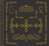 Calligraphic design elements. Vector baroque set